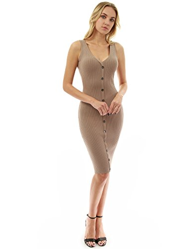 345dc6b1e2 PattyBoutik Women s V Neck Sleeveless Knit Dress