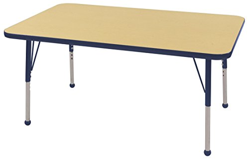 ECR4Kids Mesa T-Mold 30'' x 48'' Rectangular School Activity Table, Standard Legs w/ Ball Glides, Adjustable Height 19-30 inch (Maple/Navy) by ECR4Kids