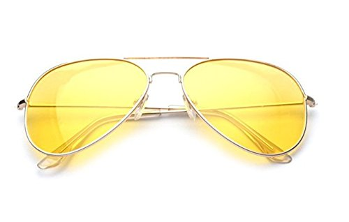 ✔︎Yellow, Night Vision Sunglasses, Gold metal frame, Jake Pauls Yellars, Yellow/Lemon lenses for both men and - Jake Blues Sunglasses