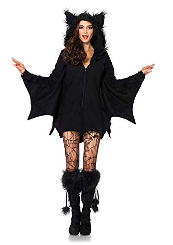 Make Bat Costume Halloween (Leg Avenue Women's Cozy Black Bat Halloween Costume,)