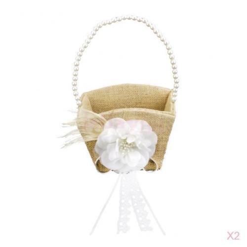 2pcs Flower Basket Chic Hessian Burlap Flower Girl Basket Wedding Beaded Handle Wedding Ceremony Party 13.5xm x 9cm