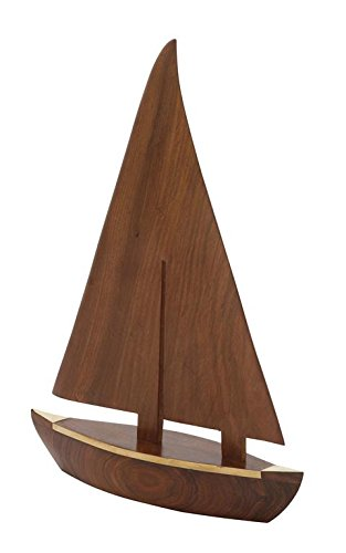 Brass Sailboat (Deco 79 19084 Nautical Wood Brass Sail Boat)