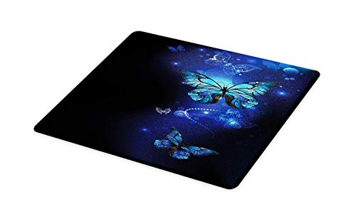 Lunarable Dark Blue Cutting Board, Fantasy Magical Butterflies Monarch Artistic Morpho Inspiration Animal, Decorative Tempered Glass Cutting and Serving Board, Large Size, Cobalt Blue Black