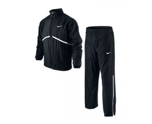NIKE N.E.T. Woven Boys Junior Tennis Warm-Up Tracksuit, Black/White, Age 8-10/S by Nike (Image #1)