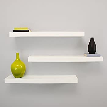 Kiera Grace Maine Wall Shelf, 24-Inch, Pack of 3, White