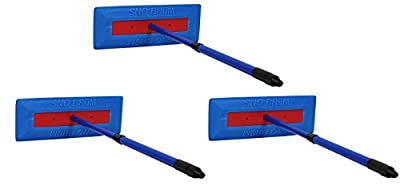 """SnoBrum Original Snow Removal Tool with 17"""" to 28"""" Compact Telescoping Handle- Remove snow from vehicles, awnings, pool/hot tub covers and more without Scratching"""