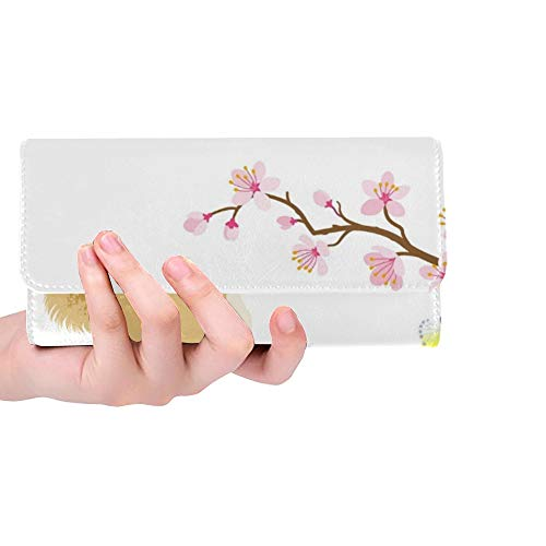 Unique Custom Japanese New Year Card 2018 Shiba Women Trifold Wallet Long Purse Credit Card Holder Case Handbag (Wallet Cherry Blossom)