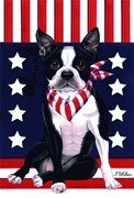 Boston Terrier - by Tomoyo Pitcher, Patriotic Themed Dog Breed Flags 12 x 18