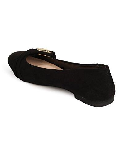 Qupid Ff08 Mujeres Faux Suede Ronda Puntera Loop Band Ballet Plana - Negro