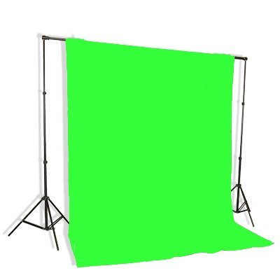 (Background Stand Backdrop Support System Kit With 6ft x 9ft Chromakey Green Screen Muslin Backdrop By Fancierstudio 9115+6x9G)