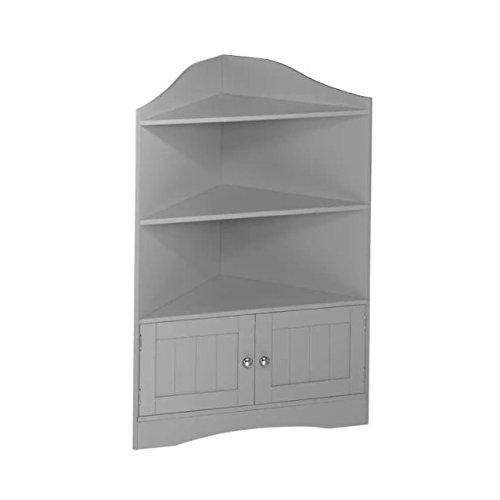 Corner Floor Cabinet with Grey Shutter Door Grey Corner Cabinet With Open Shelves Room Décor Furniture Corner Wall Cabinet Corner Storage Cabinet Corner Bathroom Cabinet Corner Cabinet Shelf (Grey)