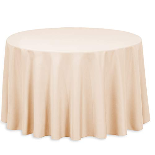 LinenTablecloth 108-Inch Round Polyester Tablecloth Peach ()