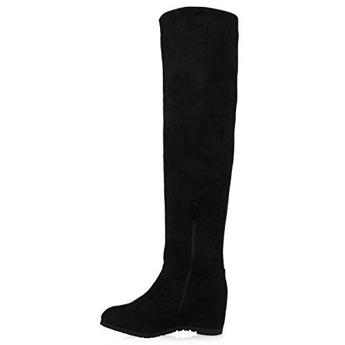 Stiefelparadies Gefütterte Damen Stiefel Overknees Strass Keilabsatz Schuhe Wildleder-Optik Wedges Boots Flandell Schwarz