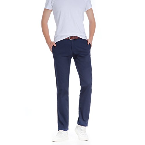 Robelli Pantalon Coton Marine Chino Homme Chic Bleu Slim Décontracté Coupe YrYPg