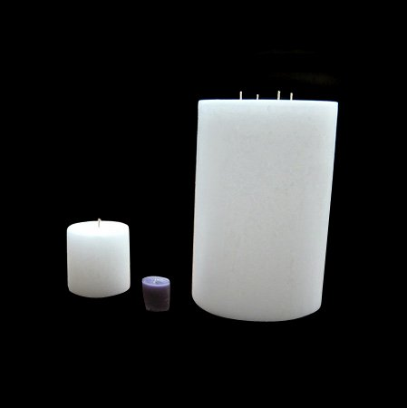 Large Pillar Candle - White, 8x16, Unscented, Hand Poured (3 wick)