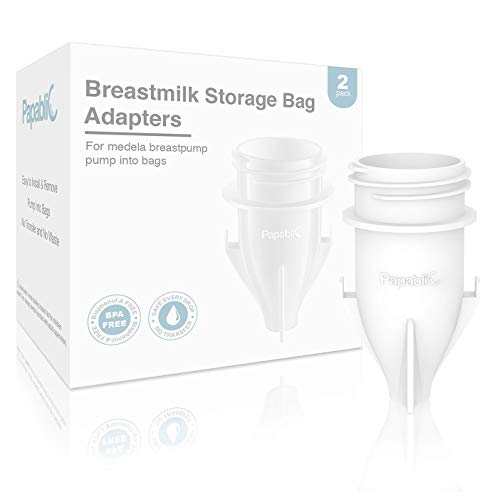 Papablic Breastmilk Storage Bag Adapters for Ameda, Medela Pump into Bags, Compatible for Medela Pump and Save Breastmilk Bag with Holes , 2 - Milk Save Bags Breast