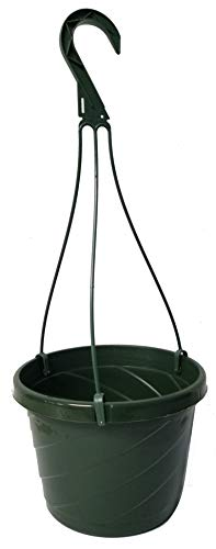 10 NEW ~ 8 Inch Hanging Basket Plastic Nursery Pots ~ Green ~ Pots ARE 725 Inch Round At the Top and 55 Inch Deep and Includes Internal Dish