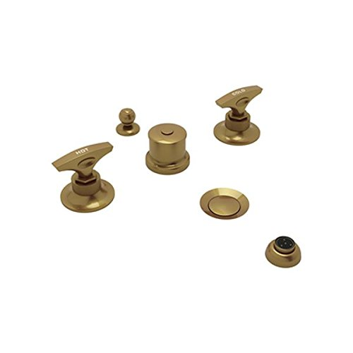 Rohl MB2047LMFB Michael Berman Graceline Deck Mounted Five Hole Bidet Faucet with Metal Levers, French Brass by Rohl