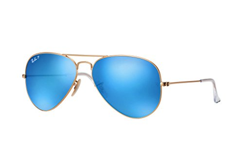 Ray-Ban RB3025 Aviator Large Metal Polarized Unisex Sunglasses (Matte Gold Frame/Blue Mirror Polarized Lens 112/4L, - Rayban Sunglases