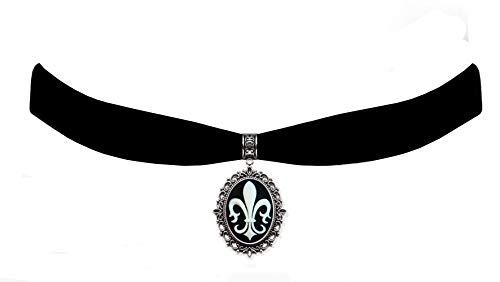 Victorian Vault Black Velvet Choker Fleur de Lis Cameo Gothic Steampunk Pendant Necklace