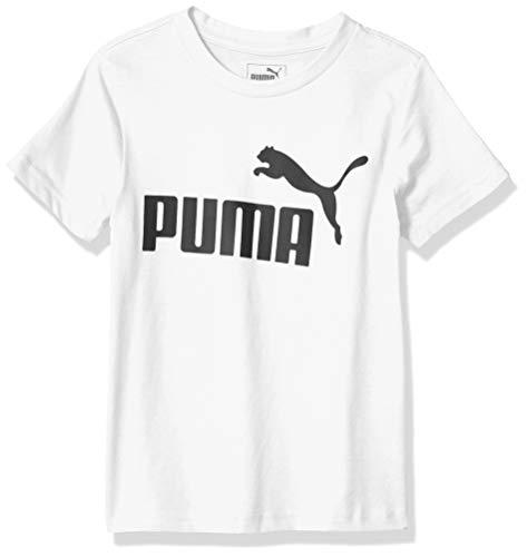 PUMA Boys' Little 1 Logo Tee, White, 6