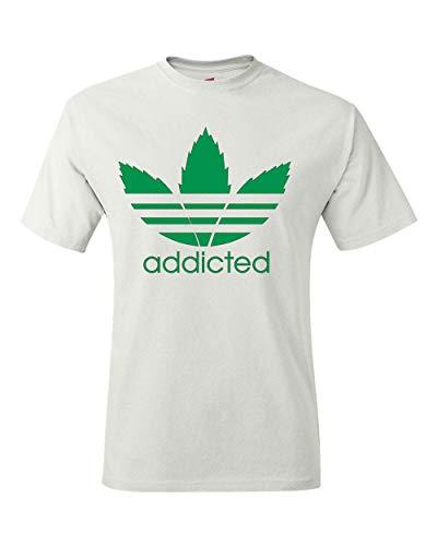 Men's T-Shirt Addicted Weed Leaf Tee Shirt White
