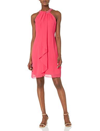 S.L. Fashions Women's Jewel Neck Sheath Dress, Cerise, 6