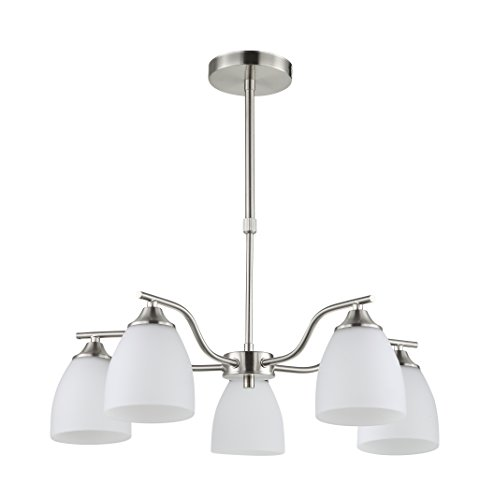 Satin Nickel Finish Chandeliers (IN HOME LED 5-Light CHANDELIER CH42, Satin Nickel Finish with Opal Glass Shade, UL listed, Dimmable, bulbs included)