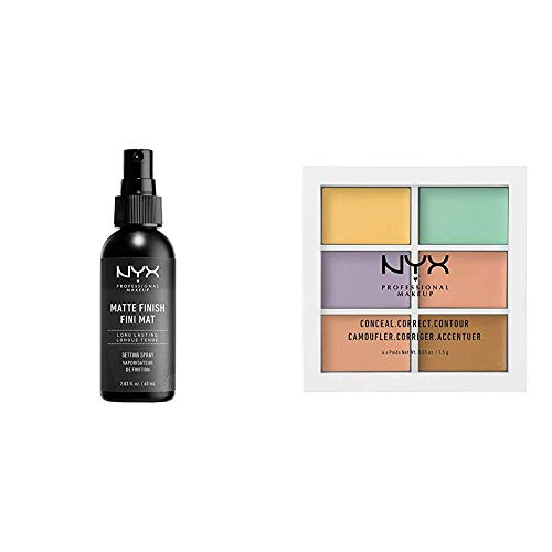 NYX PROFESSIONAL MAKEUP Make Up Setting Spray Matte Finish Bundle with Concealer Color Correcting Palette – Combo