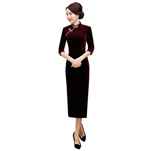Chinese Style Traditional Shang Hai Story Long Sleeves Elegant Classic Qipao Dress Velvet Long Cheongsam(Large,Wind red)