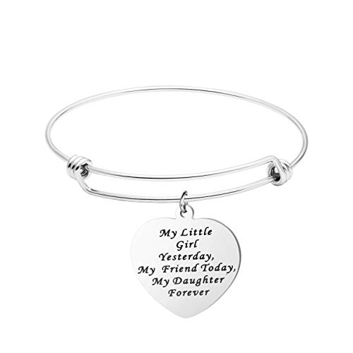 Awegift Personalized Bridal Bracelet Daughter Girls Jewelry My Little Girl Yesterday My Friend Today My Daughter Forever