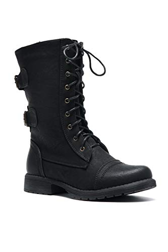 Womens Mid Calf Boots - Herstyle Florence2 Women's Military Lace Up, Double Buckled, Middle Calf Combat Boots Black 8