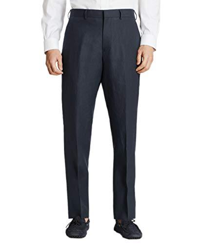 Brooks Brothers Mens Regent Fit Linen Flat Front Trousers Pants Navy Blue (34R Regular)
