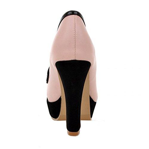 Zapatos De Tacón Alto Coolcept Mujer Block Zapatos De Tacón Alto Classic Platform Pink