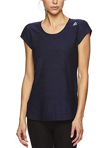 Reebok Women's Legend Performance Short Sleeve T-Shirt with Polyspan Fabric - Aged Blue Heather, X-Small by Reebok (Image #1)