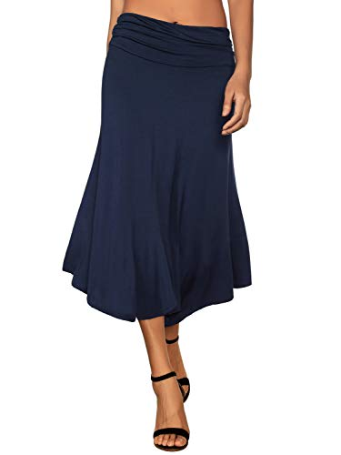 (DJT Flare Skirts for Women, Womens Basic Soft Stretch Mid Knee Length Flare Flowy Skirt Navy)
