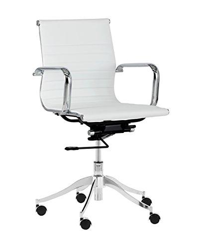 Sunpan Modern 102685 Tyler Full Back Office Chair, Snow