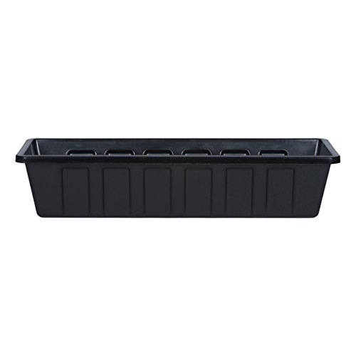 Novelty Poly-Pro Plastic Flower Box Planter, Black, 24-Inch