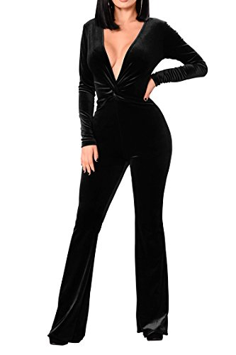 - VamJump Womens Black Party Velour Long Sleeve Plunge Neck Knot Wide Leg Jumpsui L