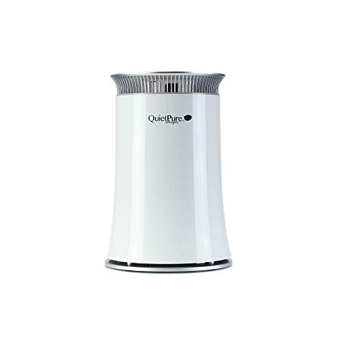 QUIETPURE Whisper Bedroom Air Purifier - Three Stage HEPA Filtration with Carbon and Negative Ionizer - Perfect for Bedroom, Office, and Small Rooms