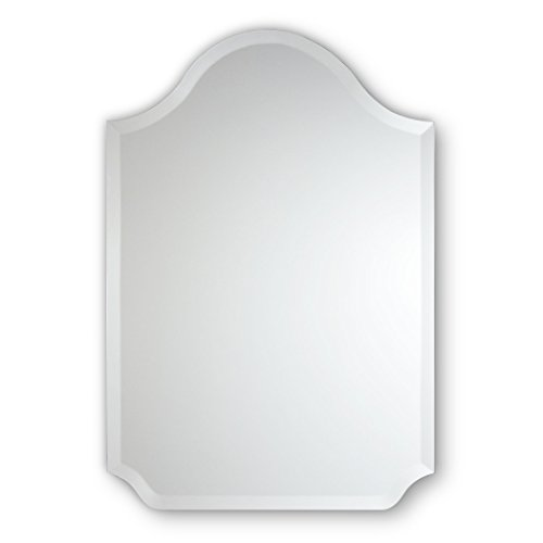 - Frameless Beveled Wall Mirror | Bell Top with Scalloped Corners | Bathroom, Bedroom, Accent Mirror