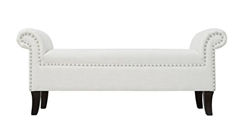Jennifer Taylor Home Savannah Straight Line Rolled Arm Hand Finished Silver Nailhead Trim Upholstered Entry Bench, White - Taylor Metal Bed