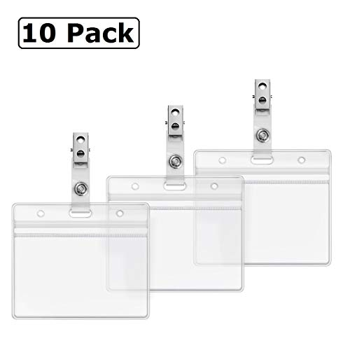 Horizontal Heavy Duty Name Tags Badge Holders and Metal Badge Clips with Vinyl Straps by ZHEGUI (10 Pack, Horizontal 2.3X3.5) ()