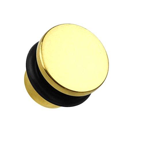 Cool Body type acier chirurgical plaqué or Single Flare Plug Titane pointe avec joint torique 8mm