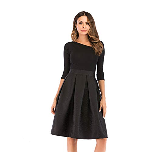Womens High Waisted Midi Skirts,Ladies Casual Solid Color Vintage Jacquard Cloth A Line Street Pleated Skirt 2019 New Black
