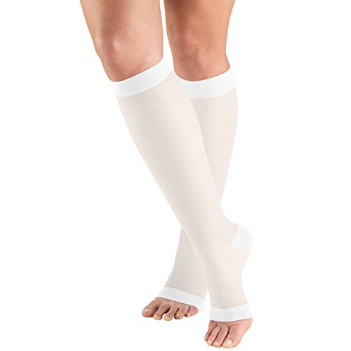 Truform Sheer Compression Stockings, 15-20 mmHg, Women's Knee High Length, Open Toe, 20 Denier, White, Medium