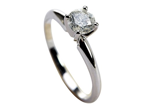 18k White Gold 0.53 ct Round Brilliant Shape GIA Certified Diamond Ring ( H COLOR, I3 CLARITY ) Ring Size 6