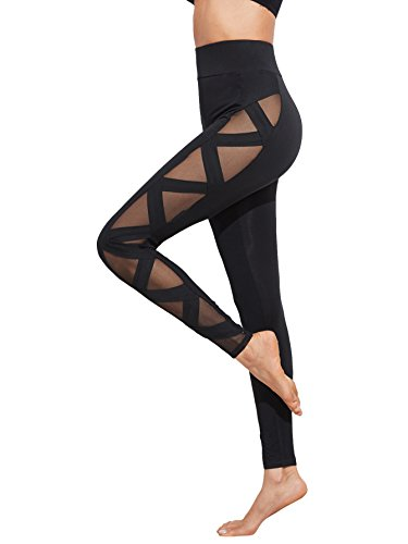 SweatyRocks Women's Sexy Mesh Leggings Workout Gym Yoga Active Bandage Pants Black L