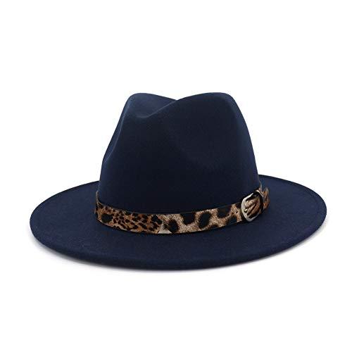 Lisianthus Women's Leopard Classic Wide Brim Felt Fedora Panama Hat Navy Blue]()