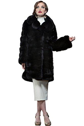 Sable Fur Coat (EM-EL Women's Black Russian Sable Mid-Length Fur Coat)